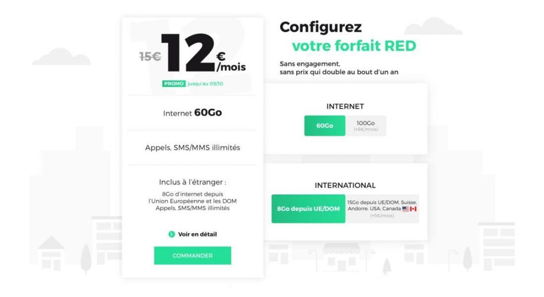 Bon plan : un forfait 60 Go à 12 euros par mois chez RED