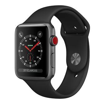 Apple Watch Series 3 Cellular 38 mm Boitier en Aluminium Gris sideral avec Bracelet Sport Noir - Black Friday : notre sélection des produit Apple en promotion