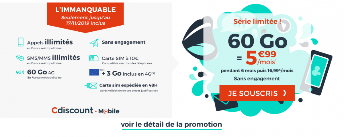 forfait 60 Go Cdiscount Mobile