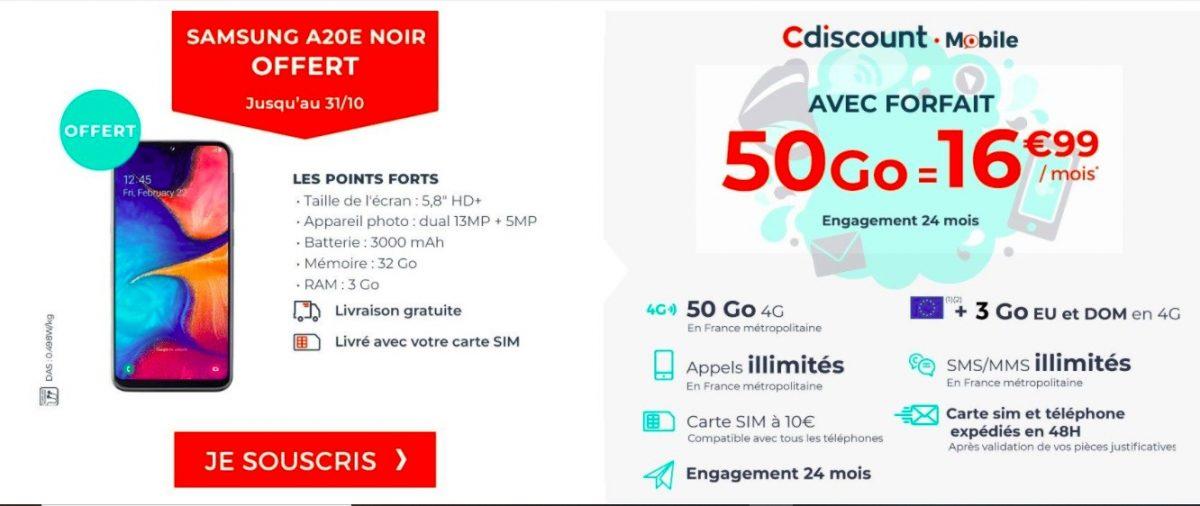 Cdiscount Mobile Samsung 1200x506 - Bon plan : le forfait Cdiscount Mobile 50 Go avec un Samsung Galaxy A20e au prix de 16,99 euros par mois