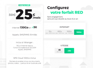 Forfait RED 130 Go 5G