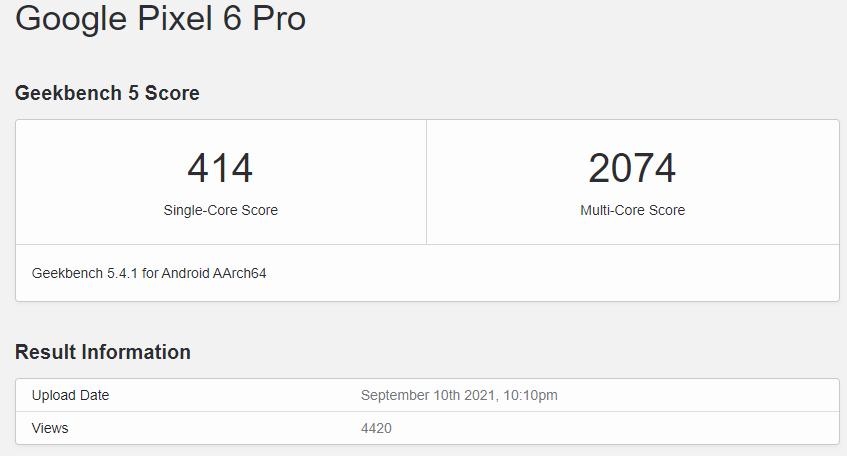 Google Pixel 6 Pro - Google Pixel 6 Pro : les premiers benchmarks du téléphone sont inférieurs au Galaxy S21